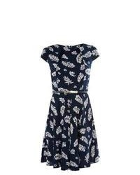 Mandi New Look Navy Leaf Print Cut Out Belted Dress