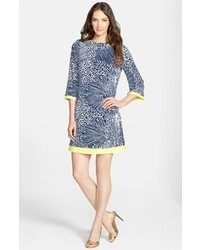 Eliza J Print Jersey Shift Dress Navy 10