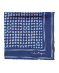 Salvatore Ferragamo Gancini Flower Pocket Square Navy
