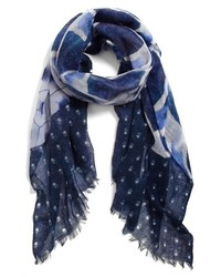 Hinge Patchwork Print Scarf Navy One Size One Size