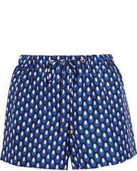 Diane von Furstenberg Liri Printed Silk Twill Shorts Navy