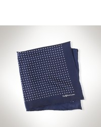 Navy and White Silk Pocket Square