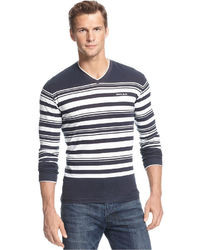 Navy and White V-neck Sweater