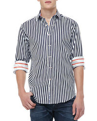 Navy and White Vertical Striped Long Sleeve Shirt