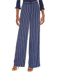 Navy and White Vertical Striped Wide Leg Pants