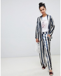 LOST INK Straight Leg Trousers In Sequin Stripe Co Ord