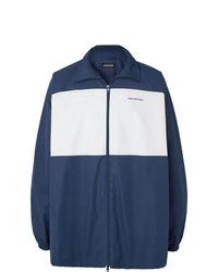 Balenciaga Colour Block Logo Print Cotton Poplin Jacket