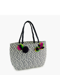 J.Crew Girls Straw Tote Bag With Pom Pom