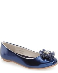 Laura Ashley Girls Crystal Embellished Ballerina Flat