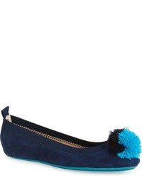 Yosi Samra Toddler Girls Sammie Foldable Pompom Ballet Flat
