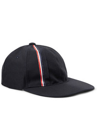 Thom Browne Striped Selvedge Trimmed Wool And Mohair Blend Baseball Cap