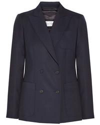 Max Mara Arpa Double Breasted Wool Twill Blazer Midnight Blue