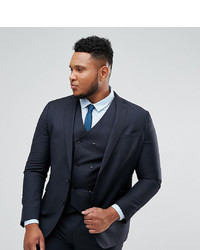 ASOS DESIGN Asos Plus Slim Suit Jacket In Navy 100% Wool