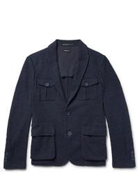 Giorgio Armani Blue Slim Fit Cotton Blend Boucl Blazer