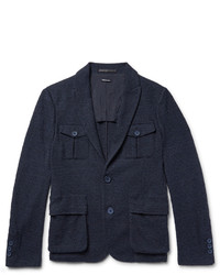 Blue slim fit cotton blend boucl blazer medium 1245687