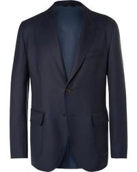 Brioni Blue Water Resistant Wool Twill Blazer