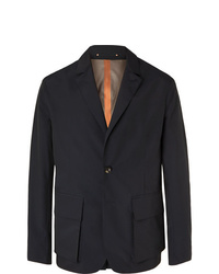 Private White V.C. Midnight Blue Unstructured Storm System Tech Wool Blend Blazer