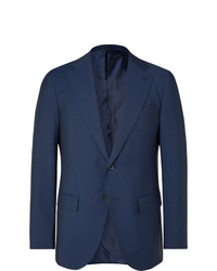 Caruso Navy Aida Slim Fit Wool And Mohair Blend Suit Jacket