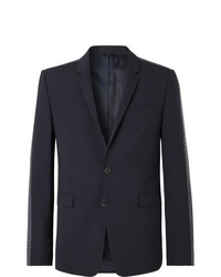 Fendi Navy Logo Jacquard Trimmed Stretch Virgin Wool Suit Jacket