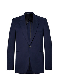 The Row Navy Michel Slim Fit Cotton And Cashmere Blend Blazer