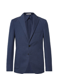 Salle Privée Navy Ross Slim Fit Unstructured Cotton And Linen Blend Suit Jacket