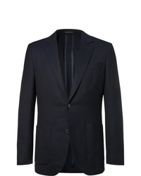 Richard James Navy Spirit Slim Fit Wool Hopsack Blazer
