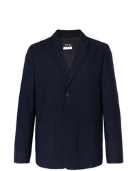 A.P.C. Navy Unstructured Cotton Faille Blazer