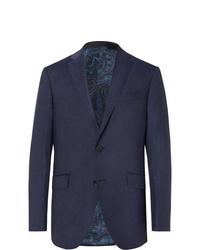 Etro Navy Wool Hopsack Blazer