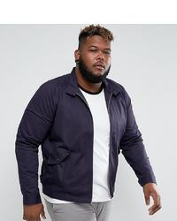 ASOS DESIGN Asos Plus Harrington Jacket With Funnel Neck In Navy