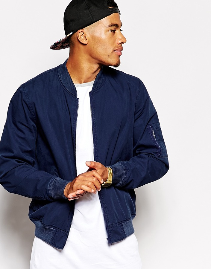 93491d7b £53, Asos Brand Bomber Jacket In Navy