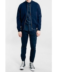 6f1ca2f1c Topman Navy Cotton Bomber Jacket, £65 | Nordstrom | Lookastic UK