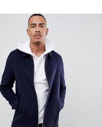 ASOS DESIGN Tall Wool Mix Zip Through Jacket In Navy