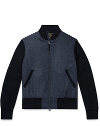 Golden Bear The Player Suede Panelled Melton Wool Bomber Jacket