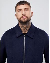 ASOS DESIGN Wool Mix Zip Through Jacket In Navy
