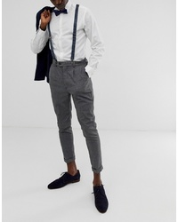 ASOS DESIGN Brace And Bow Tie Set In Navy With Grid Print