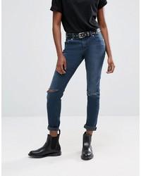 Asos Kimmi Shrunken Boyfriend Jeans In Grace Dark Stonewash With Rips