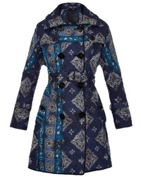 Burberry Prorsum Paisley Print Quilted Trench Coat