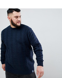 BadRhino Big Cable Knitted Jumper In Navy