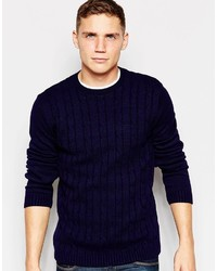 Asos Brand Cable Knit Sweater In Navy