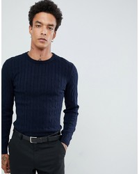 Gianni Feraud Premium Muscle Fit Stretch Crew Neck Cable Jumper
