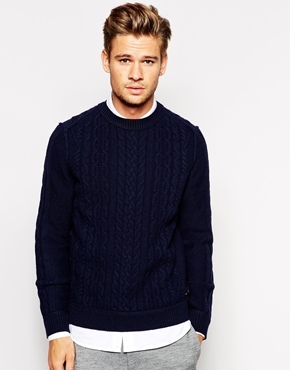 Boss Orange Sweater With Cable Knit Navy | Where to buy & how to wear