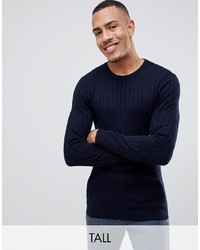 Gianni Feraud Tall Premium Muscle Fit Stretch Crew Neck Cable Jumper