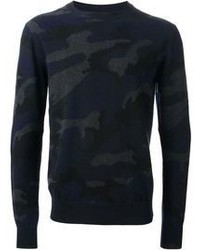 Navy Camouflage Crew-neck Sweater