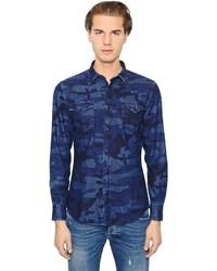 Navy Camouflage Denim Shirt