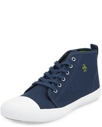 Navy Canvas High Top Sneakers