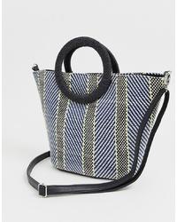 New Look Neon Weave Tote Bag In Blue Pattern