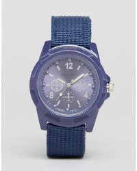Reclaimed Vintage Canvas Military Watch In Navy