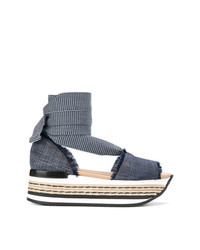 Hogan Denim Platform Sandals
