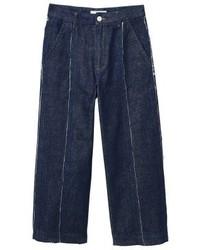 Mango Culotte Flared Jeans Open Blue