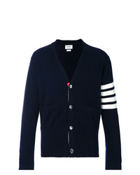 Thom Browne V Neck Cardigan With 4 Bar Stripe In Navy Cashmere